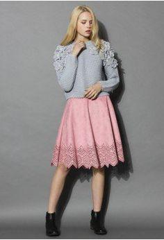 Blush Pink Suede Cutout Midi Skirt - sale - Retro, Indie and Unique Fashion
