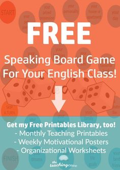 Need an English game for your English or ESL class? Here's a Speaking Board Game that I love to teach. Teach English class and need an icebreaker activity? This English board game will make English class fun! Also, you'll get access to my free printables English Games, English Class, English Lessons, Learn English, English Vinglish, English Resources, English Language, Teaching Grammar, Teaching Tips