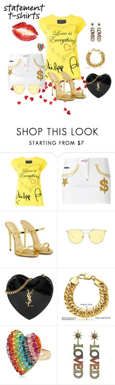 """""""Love is Everything"""" by legoalibri on Polyvore featuring Philipp Plein, Giuseppe Zanotti, Yves Saint Laurent, Betsey Johnson, Gucci, Summer, gold, yellow, skirts and yvestlaurent"""