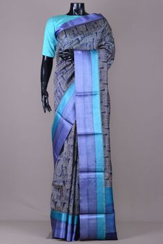 Dark Blue & Beige Printed Tussar Silk Saree-VJ2132 Cotton Silk, Printed Cotton, Tussar Silk Saree, Silk Sarees Online, Printed Sarees, Stuffed Animal Patterns, Dark Blue, Kimono Top, Blouses
