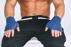 Fingerless Gloves Blue  LORO PIANO by Reginastimelessknits on Etsy