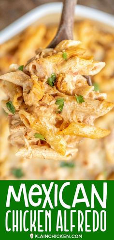 Mexican Chicken Alfredo Casserole for when you cant decide between Mexican and Italian for dinner This is super easy to make and tastes AMAZING Chicken pasta Alfredo sau. Pasta Facil, Pasta Casera, Sauce Alfredo, Pasta Alfredo, Casserole Recipes, Crockpot Recipes, Cooking Recipes, Easy Dinner Casserole, Meat Recipes