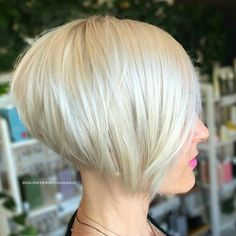 Stacked Sleek White Blonde Bob - 100 Mind-Blowing Short Hairstyles for Fine Hair - The Trending Hairstyle - Page 39 Short Stacked Bob Haircuts, Short Stacked Bobs, Best Bob Haircuts, Bob Haircuts For Women, Choppy Bob Hairstyles, Short Hair Cuts, Straight Hairstyles, Short Hair Styles, Angled Bobs