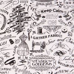 white sewing accessories sewing words fabric by Timeless Treasures  2