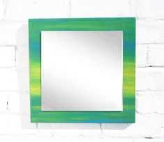 Green-blue-yellow handpainted wooden mirror // by uniqueTouchwood