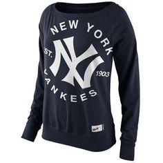 Nike New York Yankees Ladies Cooperstown Washed Epic Crew Fleece Sweatshirt - Navy Blue