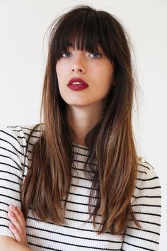 Long hair with bangs brunette
