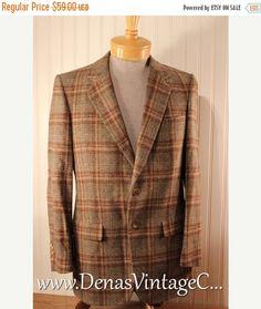 Mens Vintage Christian Dior Wool Blazer Jacket Brown Tan Plaid Wool Tweed sz 38…