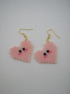 You will receive earrings 1 pair (2 pieces) of Pink Heart handmade earrings of hama mini beads.  ++Color may have slightly shade variation from the