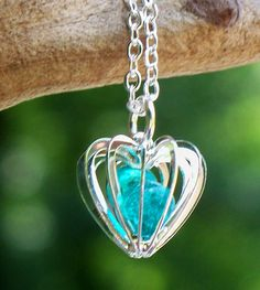 Caged Heart Necklace - Made in the USA from antique and reclaimed glass!  Available in 7 beautiful colors!