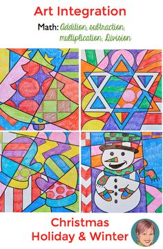 Christmas, holiday and winter math coloring pop art sheets! Easy for the teacher, fun and educational for the student!