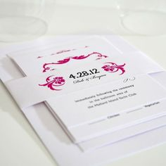 Lavish Ornament Wedding Invitations Sample in Fuchsia