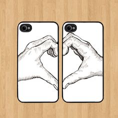 Best friend Friends Heart Hands cases set of 2 Cases Plastic Snap for iPhone 4 4S 5 5C 5S Galaxy S3 / S4 on Etsy, $24.99