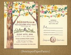Romantic Rustic Spring Wedding Invitation,Oak Tree,Carved Heart,Wildflowers,Simple,Unique,Casual,Opt RSVP Card,Customizable With Envelopes