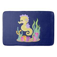 Cute cartoon seahorse bath mat