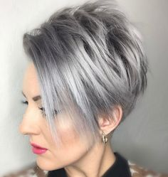 Gray Pixie Bob With Long Side Bangs