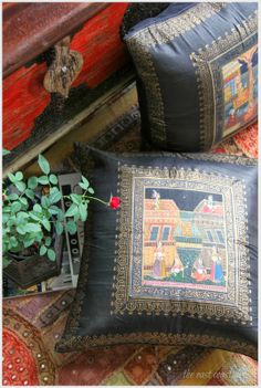 Rajasthani miniature paintings on silk cushion covers, red and black color inspiration