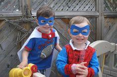 East Coast Mommy: Foam Super Hero Masks with free template Diy Superhero Costume, Superhero Capes, Halloween Costumes For Kids, Halloween Diy, Superman Mask, Superman Party, 3rd Birthday Parties, 4th Birthday, Birthday Ideas