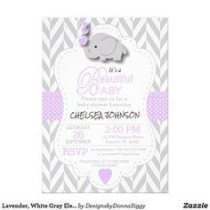 #SOLD #Lavender, White Gray #Elephant #BabyShower #Invitations