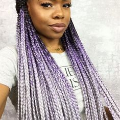 Purple and Grey Ombre box braid hairstyle