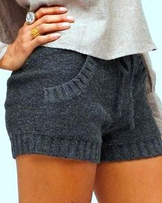 Cozy Gray Knitted Shorts
