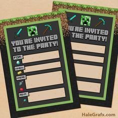FREE Printable Minecraft Birthday party Invitation More