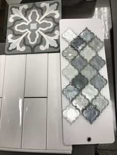 Cement tile floors, subway and arabesque shower Patterned Tile Bathroom Floor, Accent Tile Bathroom, Tile Accent Wall, Upstairs Bathrooms, Basement Bathroom, Bathroom Renos, Dream Bathrooms, Bathroom Renovations, Master Bathroom