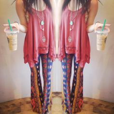#freepeople #fpme.....So Me!! From The Printed Bell Bottoms,The Top, and even the Starbucks Frap!!...