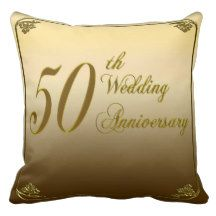 50th Golden Anniversary Square Throw Pillow Throw Pillow