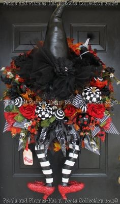 "RESERVED LISTING for ""MELISSA only""- Final of 4  Installments  (2 wreaths) ""Wicked Witch w/Ruby Red Slippers"" Left and Right Versions. $209.50, via Etsy."