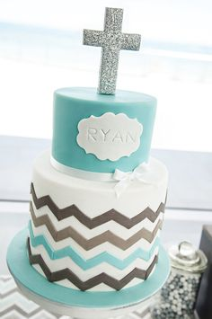 chevron striped Christening cake, but take off the cross and it would be an awesome cake for a wedding or birthday or shower or anything!