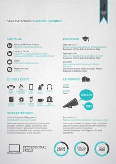 Business infographic & data visualisation Graphic Resume/ CV by Sara Catanzariti, via Behance. Infographic Description Graphic Resume/ CV by Sara Best Resume, Resume Cv, Resume Tips, Resume Examples, Resume Ideas, Cv Ideas, Web Design, Design Ideas, Illustrator Design