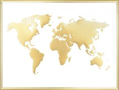 Poster mit Goldfolie, Weltkarte