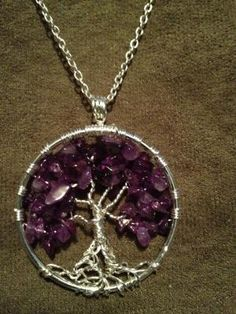 Amethyst Hand Wrapped Tree of Life Pendant