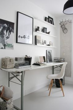 Home office inspiration. Home Office Space, Home Office Design, House Design, Desk Space, Office Workspace, Bedroom Workspace, Ikea Office, Office Spaces, Studio Design