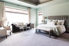 """53 Likes, 3 Comments - Meghan Blum Interiors (@meghanbluminteriors) on Instagram: """"We chose mint, cream and dark grey pieces for this serene, luxe master bedroom. What is your go-to…"""""""