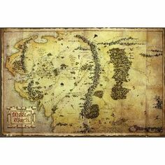 """The Hobbit Poster Map of Middle Earth (55""""x39""""): Amazon.ca: Home & Kitchen"""