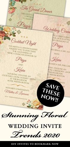 This Simple DIY Elegant Pastel Wedding invite template download is perfect for you if you are looking for classy printable insert card template and easy-to-customize editable template downloads for your Floral Wedding Invitation!This Boho Floral Wedding invitation card includes a custom digital invite card each for any 3 of your functions for your Elegant Indian Wedding / Sikh Wedding / Punjabi Wedding, be it a Sangeet, Wedding or Reception! Indian Wedding Invitations, Printable Wedding Invitations, Digital Invitations, Floral Wedding Invitations, Wedding Stationery, Sikh Wedding, Punjabi Wedding, Diy Save The Dates, Wedding Advice