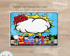 Gracias superhéroe Pop Art / Nota tarjeta Super por ThePartyTown