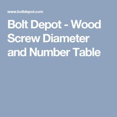 Bolt Depot - Wood Screw Diameter and Number Table Screws And Bolts, Wood Screws, Garage Organization, Woodworking Tips, Diy Projects, Number, Table, Pallets, Charts