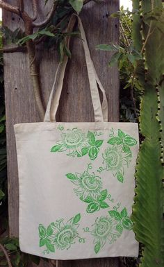 Passion Flower Tote by Dishragstudio on Etsy, $20.00