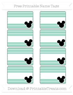 Free Pastel Green Horizontal Striped  Mickey Mouse Name Tags