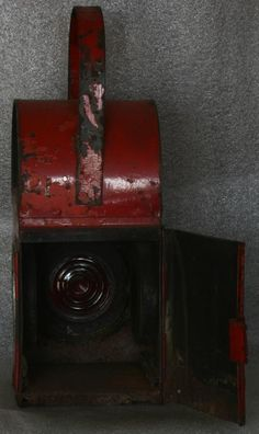 Old Red Railway Signal Lantern - Inside