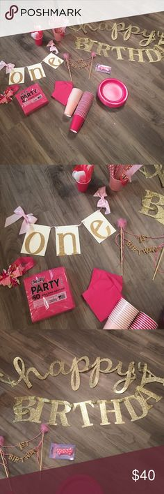Assorted pink and gold first birthday bundle Includes 40 hot pink plates 40 cups (mix of hot and light pink) one high chair banner first birthday mud pie cake topper 60 unopened napkins and opened hot pink smaller napkins pink and gold headband assorted decorative straws and silverware unopened one candle and a slightly bent gold sparkly happy birthday sign! Only sold as bundle offers are welcome :-) Other