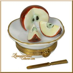 Cut Apple on a Plate Limoges box (Beauchamp)