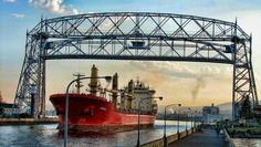 "A ""saltie"" entering the Duluth inner harbor under the Arial Lift Bridge"