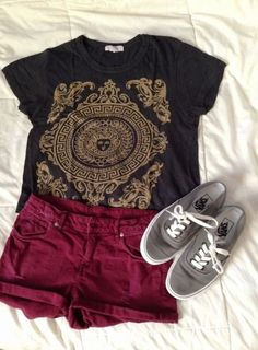 Forever 21 shirt. Would go well with a skirt in that burgundy tone.