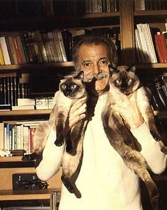 Georges Brassens -French singer-songwriter and poet Cool Cats, I Love Cats, Crazy Cat Lady, Crazy Cats, Siamese Cats, Cats And Kittens, Celebrities With Cats, Celebs, Men With Cats