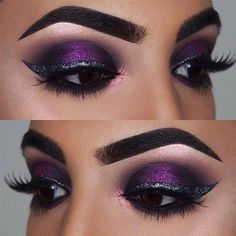Eye Makeup Tips.Smokey Eye Makeup Tips - For a Catchy and Impressive Look Dramatic Wedding Makeup, Dramatic Eye Makeup, Smokey Eye Makeup, Bridal Makeup, Eye Makeup Glitter, Purple Eye Makeup, Purple Smokey Eye, Purple Eyeshadow, Eyeshadow Palette