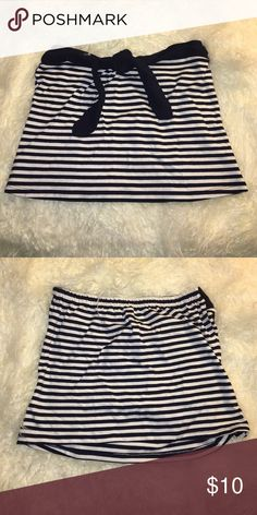 Cute striped tube top! Black and white stripes with black tie on top. Loose fitting- flowing. Size L. Elastic band in back Tops Crop Tops